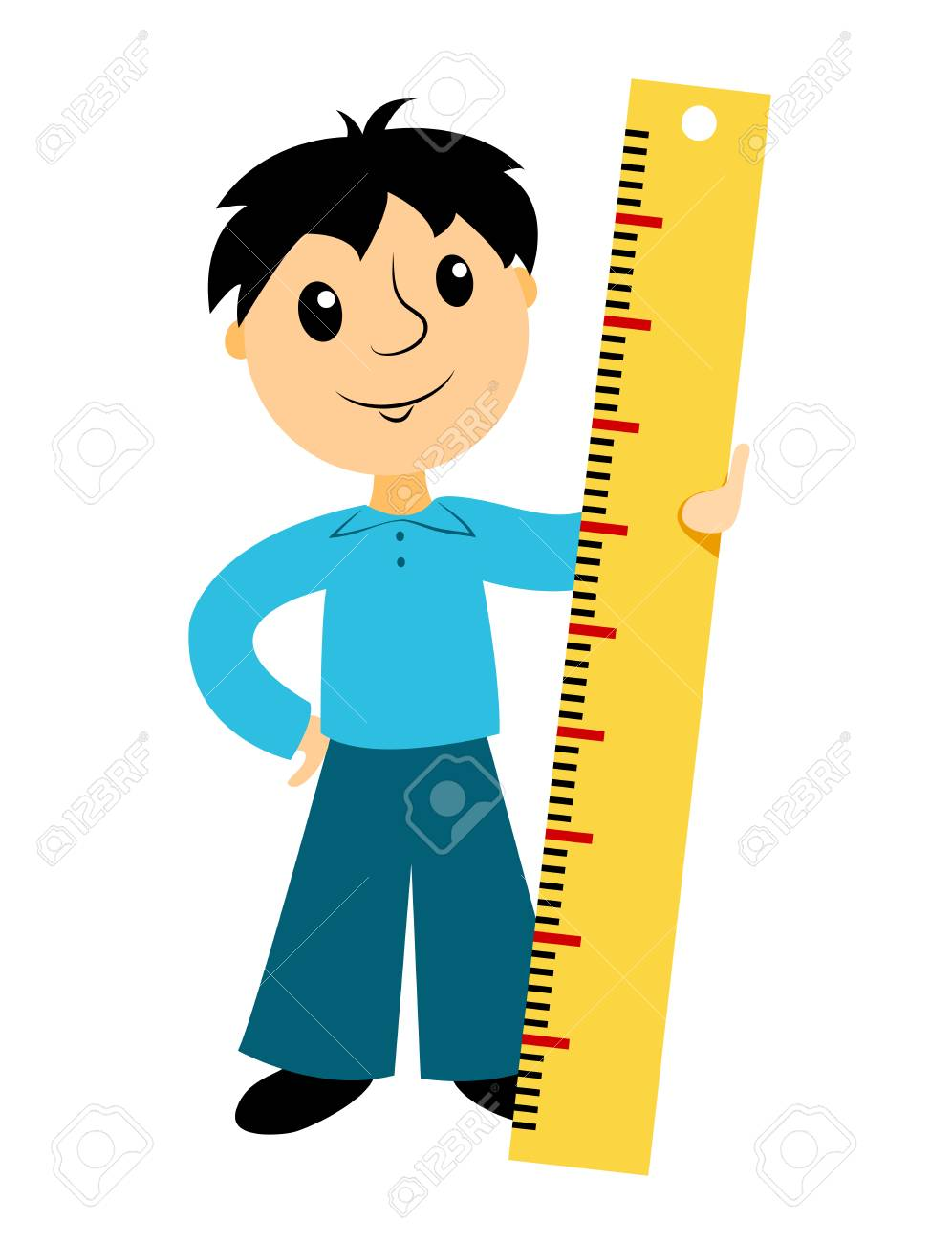 the boy holds a ruler clip art for buseness isolated on white rh 123rf com ruler clipart free rules clip art free