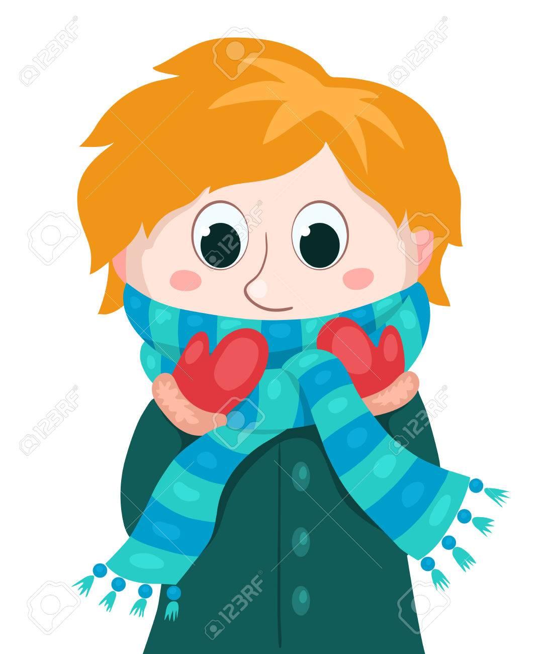 a23d78918f85 Niño en ropa de invierno. Vector ilustración de dibujos animados. Aislado  en blanco.