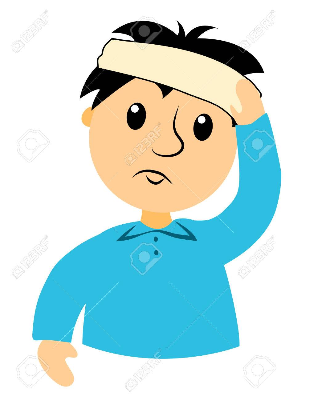 the boy is hurt by the head clip art for buseness isolated rh 123rf com clipart headset clipart headphones
