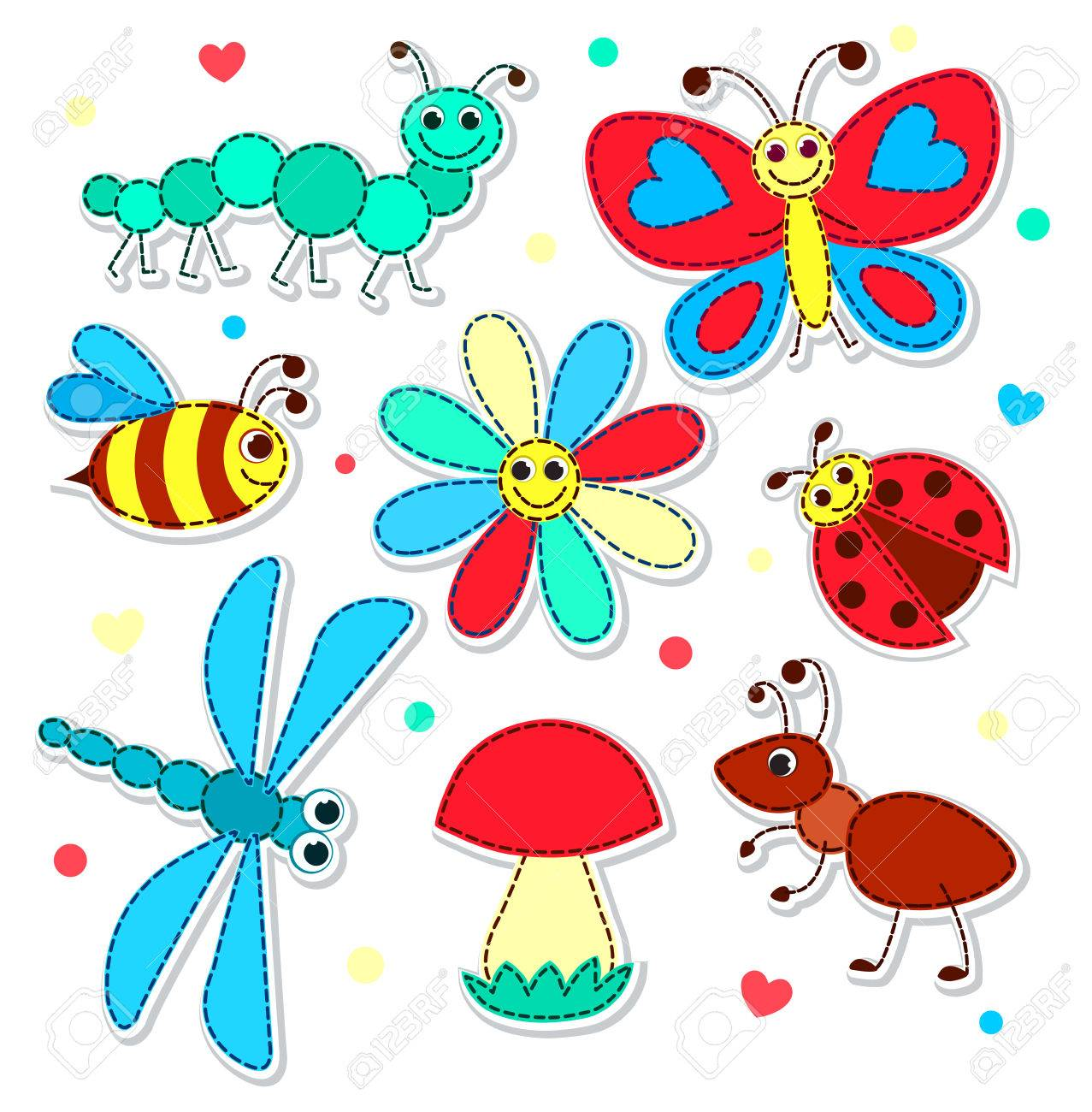 Set of cute stickers with a patchwork insects for children vector illustration isolated on