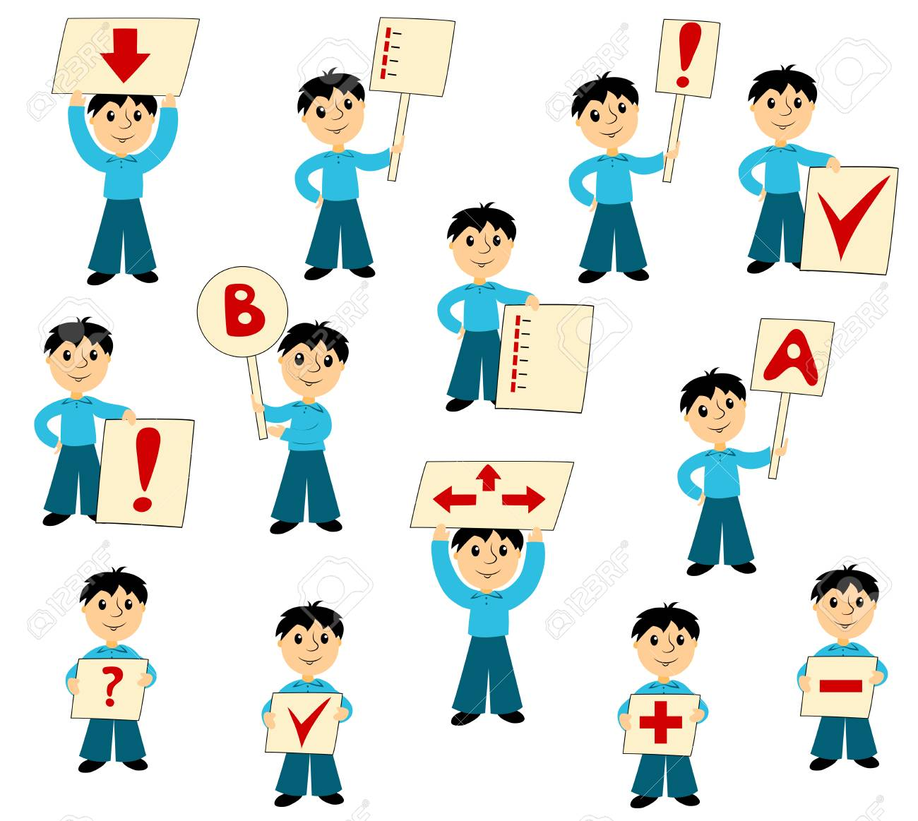 the boy with signs set of clip art for business isolated on rh 123rf com