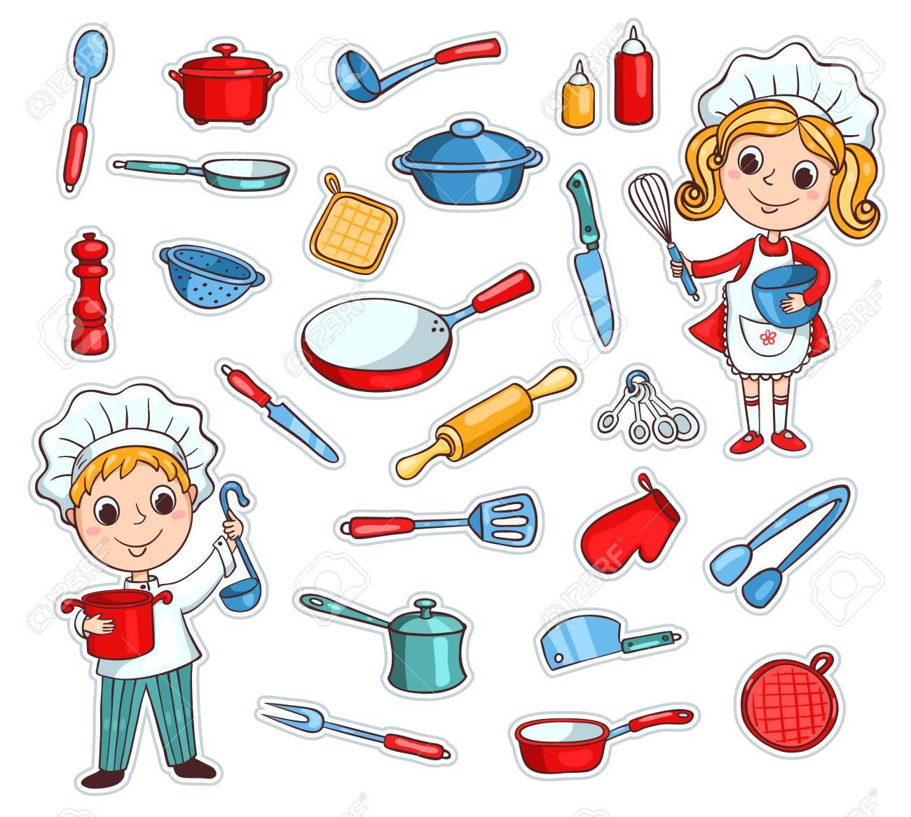 Conjunto De Utensilios De Cocina De Dibujos Animados Y Dos