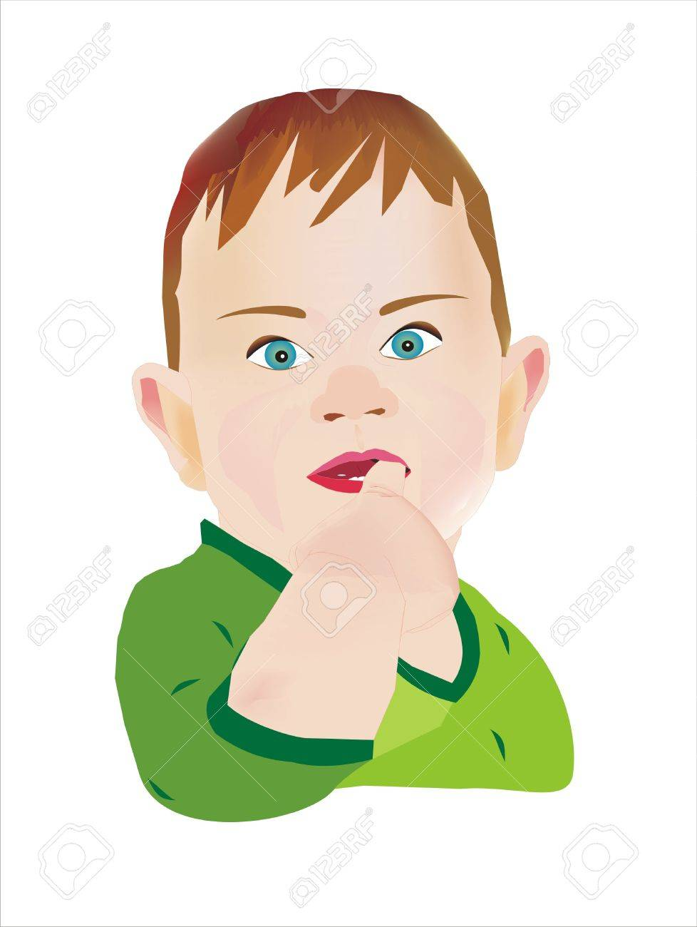 boy stuck his finger in his mouth Stock Photo - 7902729