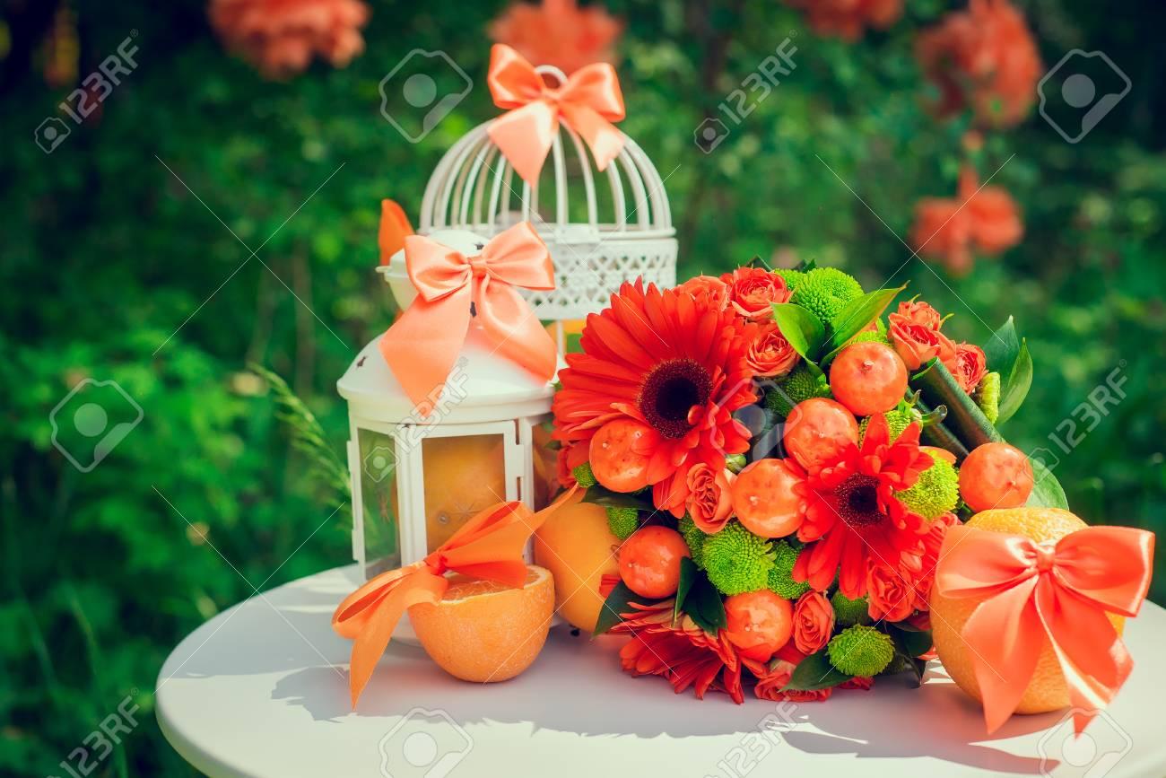 Hochzeit Collage Mit Schonen Orange Thema Accessoires Und