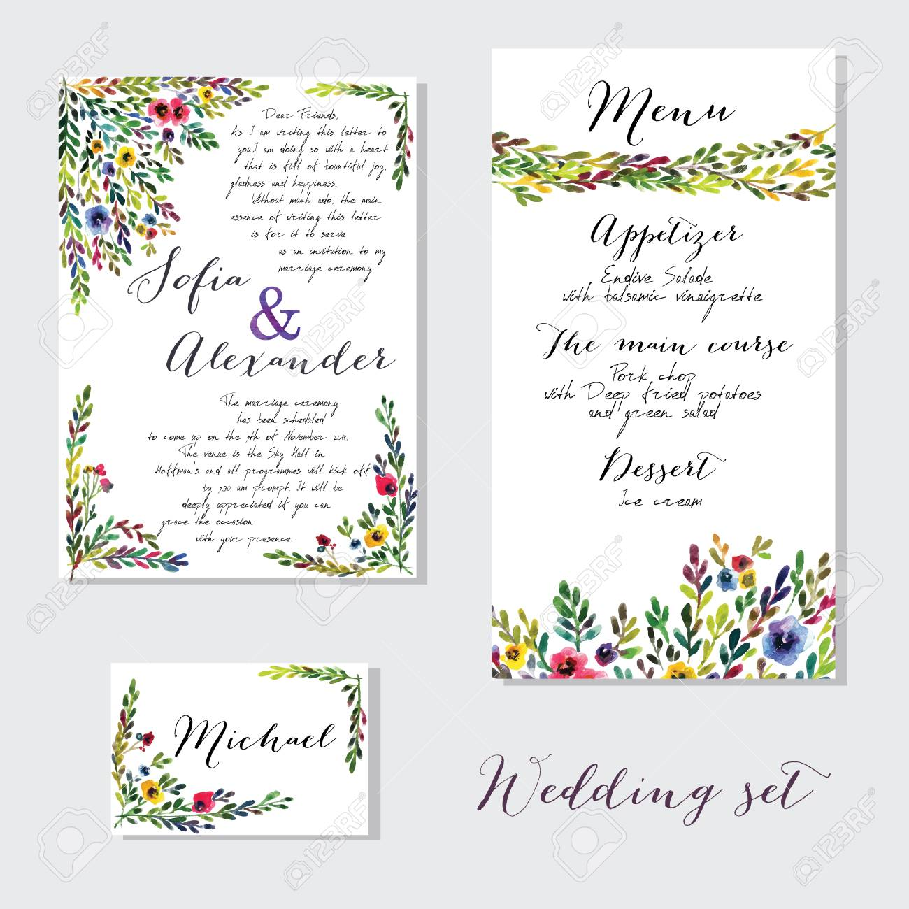Vector Set Of Invitation Cards With Watercolor Flowers Elements ...