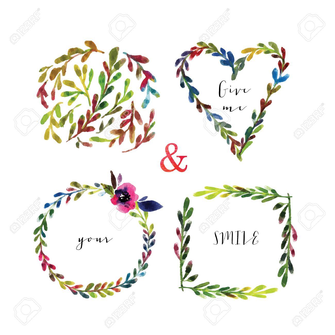 Vector Marcos Florales. Cuadros De Flores Coloridas Con Hojas Y ...