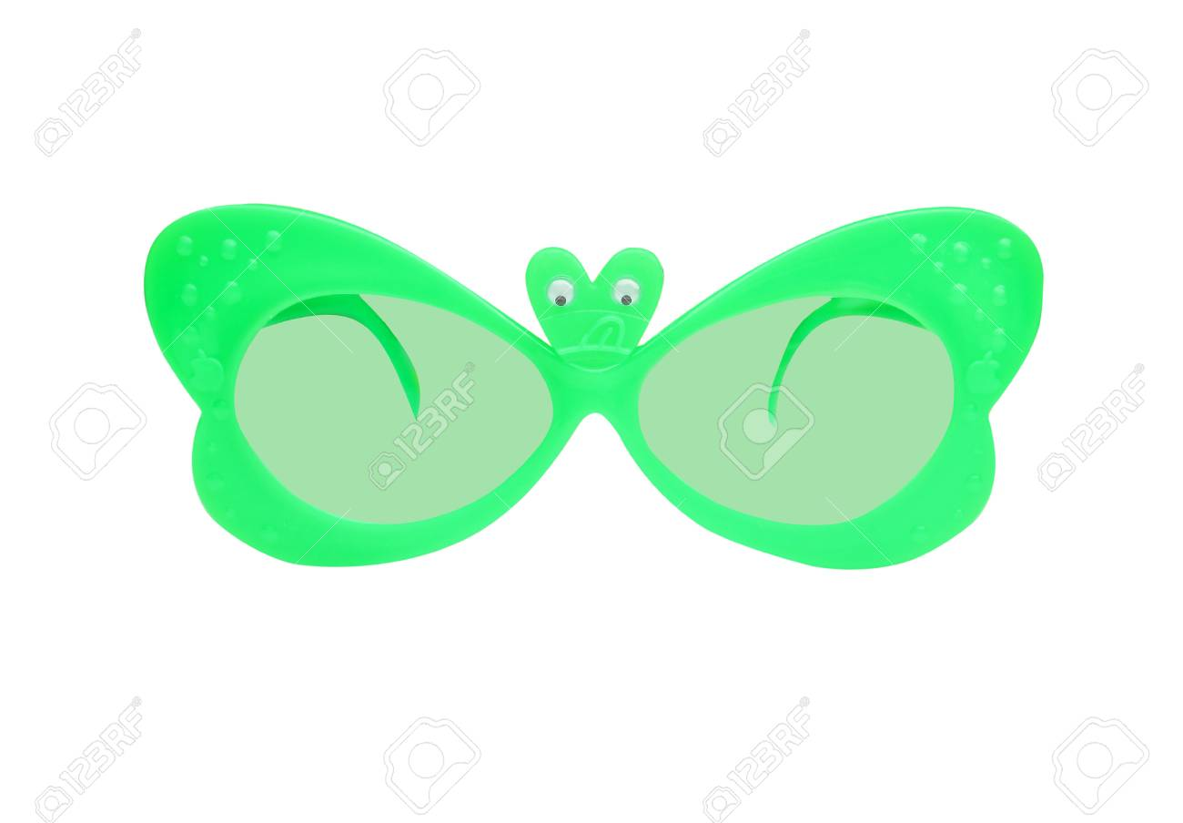 bff654bfbd Green plastic sunglasses in butterfly shape isolated on white background  Stock Photo - 107351984