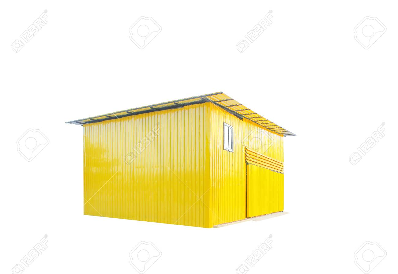 Colorful Yellow Zinc Shed Or Garage Isolated On White Background