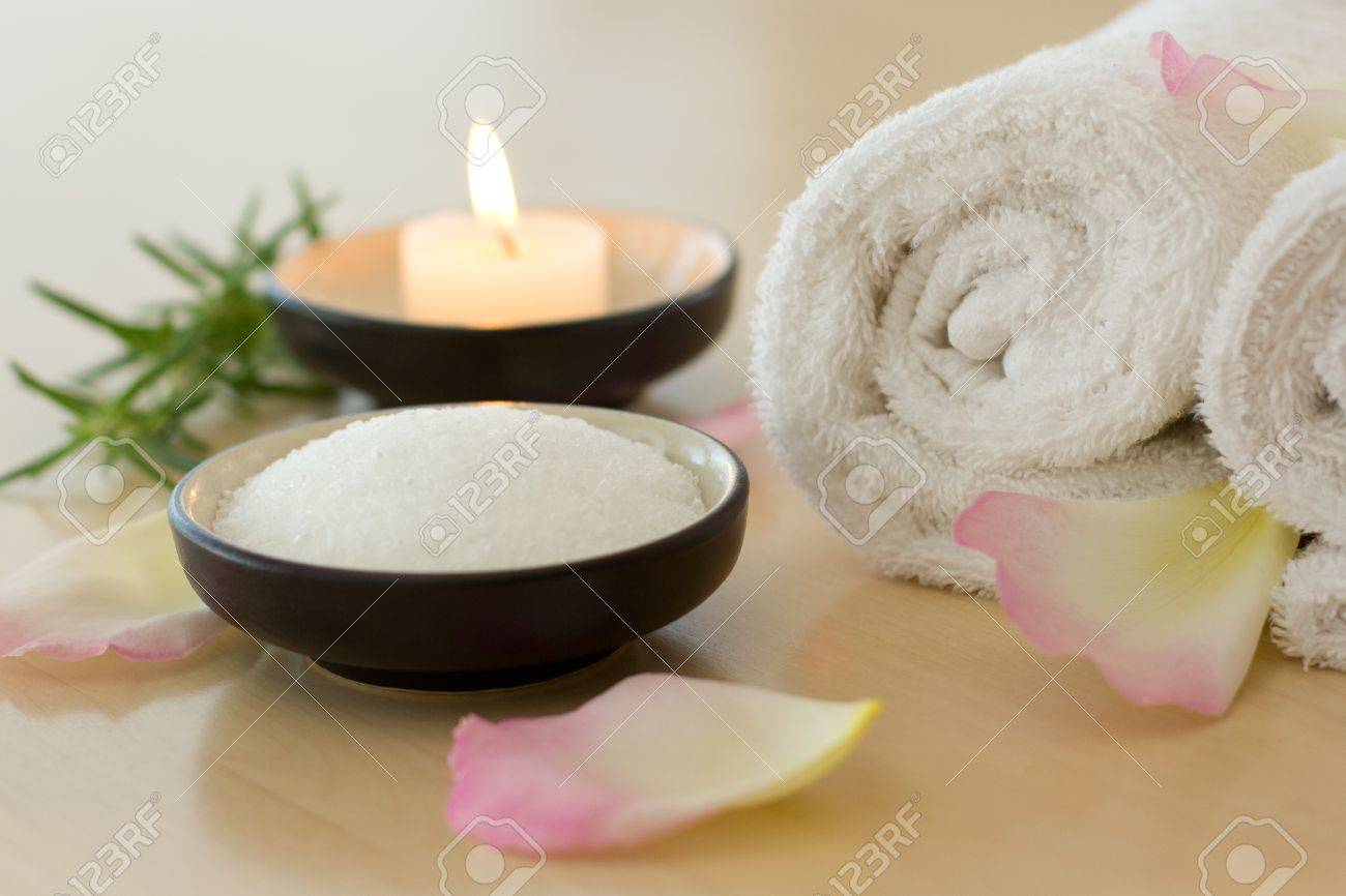 Health Spa And Wellness With Bath Salts, Candles, And Towels Stock ...