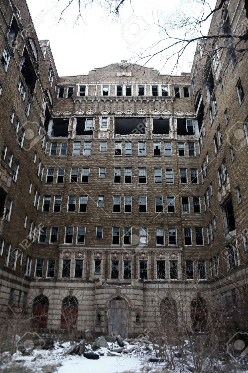 An Old Abandoned Apartment Building Exterior Stock Photo Picture