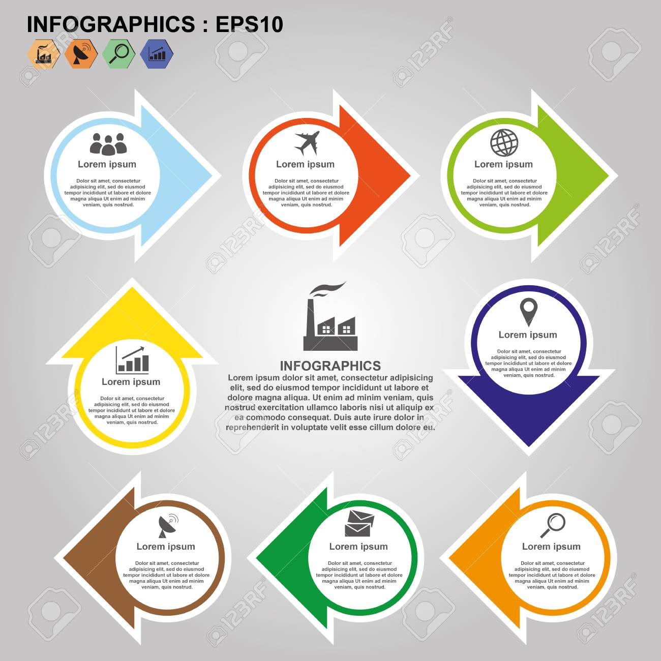 timeline infographics flowchart template process step vector