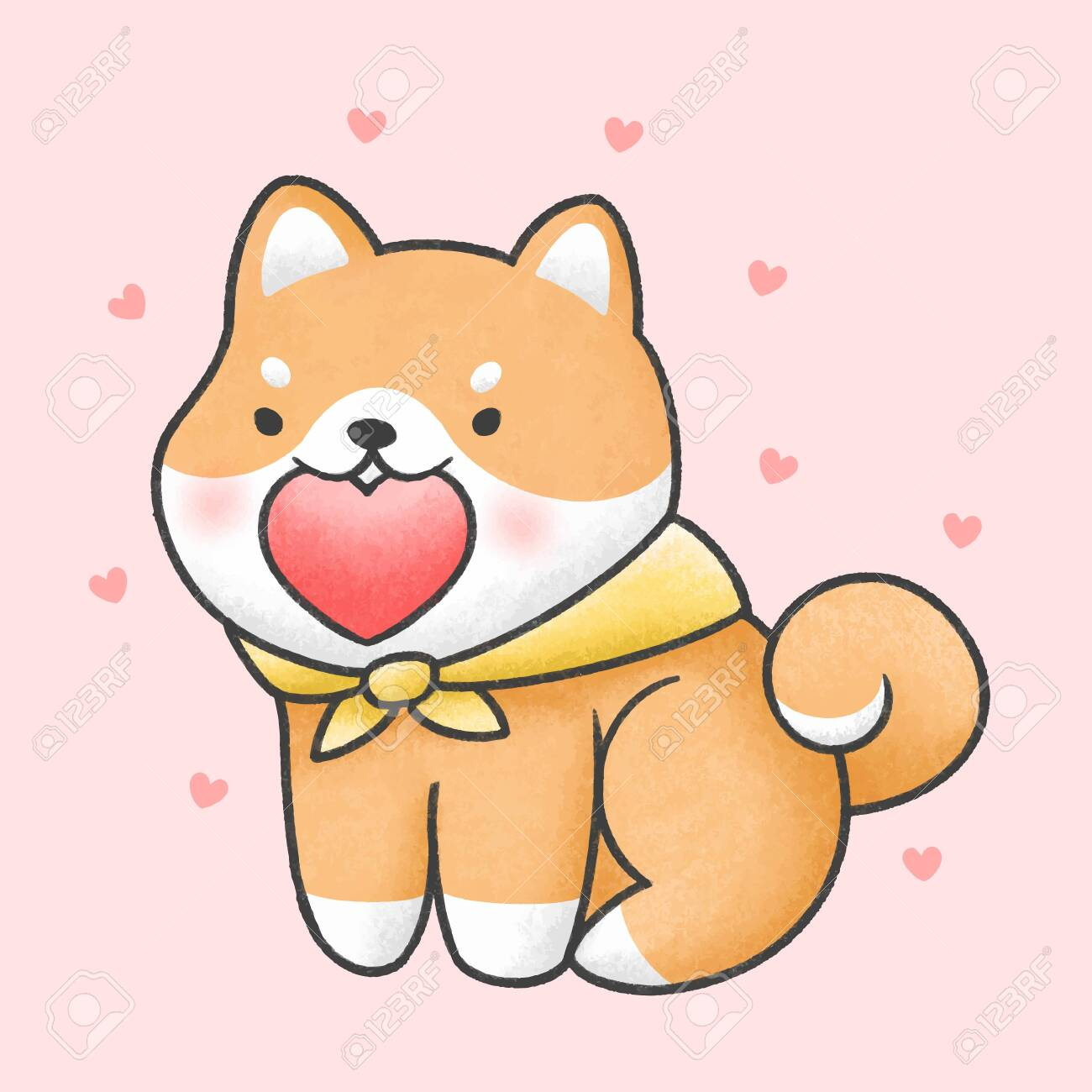 Cute Shiba Inu Dog Holding Heart Hand Drawn Cartoon Animal Character Royalty Free Cliparts Vectors And Stock Illustration Image 137741282