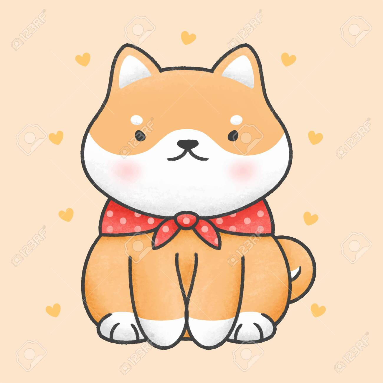Cute Shiba Inu Dog Sitting Hand Drawn Cartoon Animal Character Royalty Free Cliparts Vectors And Stock Illustration Image 140417102