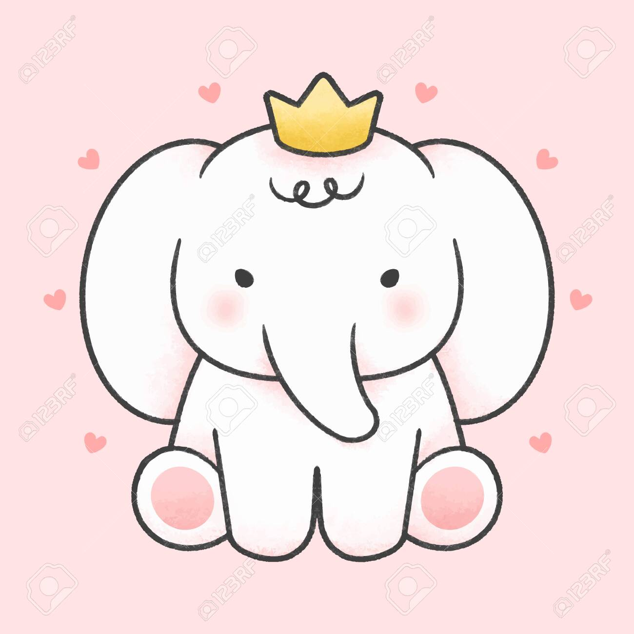 Cute Elephant Wear Crown Hand Drawn Cartoon Animal Character Royalty Free Cliparts Vectors And Stock Illustration Image 138639542 The most common elephant with crown material is metal. cute elephant wear crown hand drawn cartoon animal character