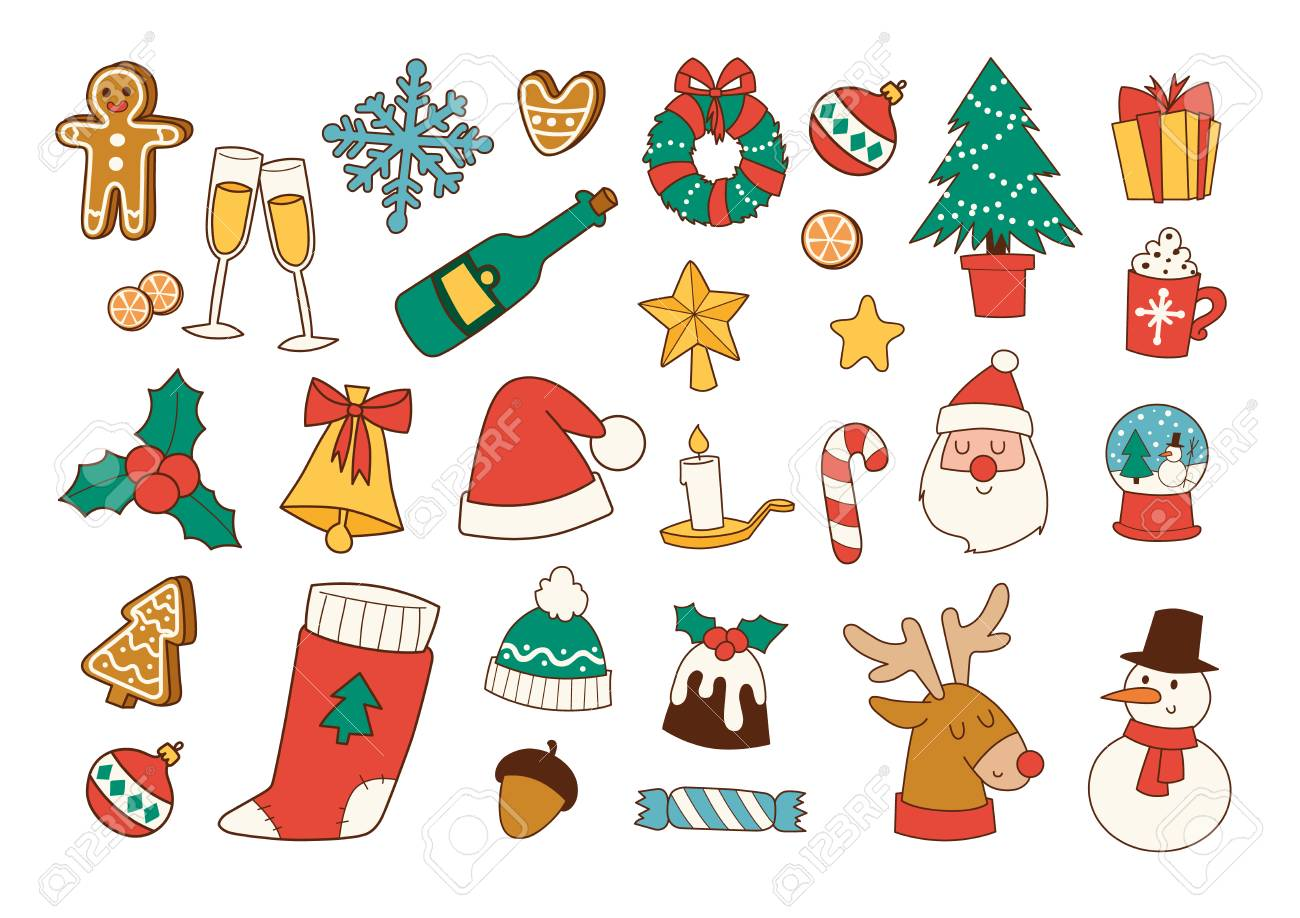 Christmas Festival Cartoon Images.Cartoon And Icons For Christmas Festival Flat Line Vector And