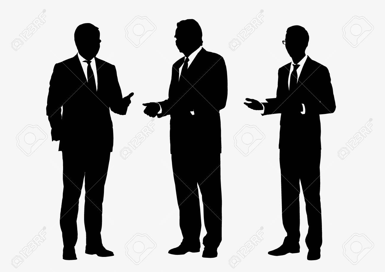 Business people group silhouettes pose on white background, flat line vector and illustration. - 131575124