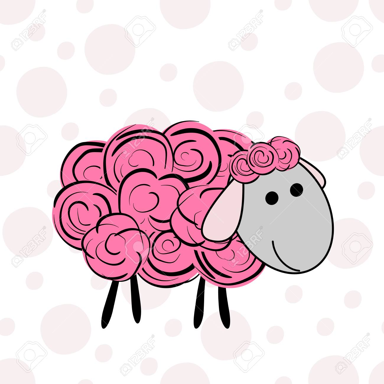 Vector Illustration Of A Cartoon Sheep Prints For Textiles