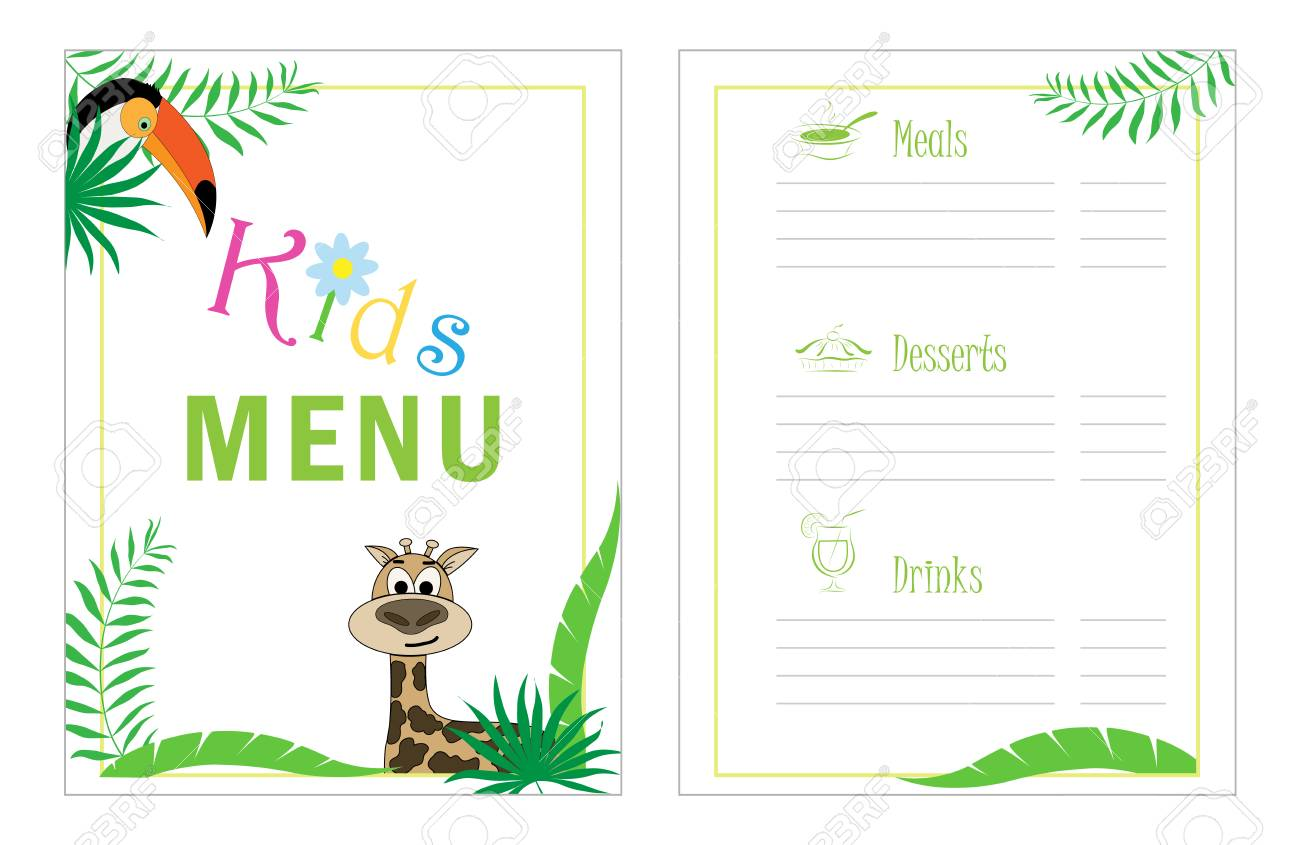 Childrens Menu Template Cafe Menu Design For Kids Kid Menu Stock