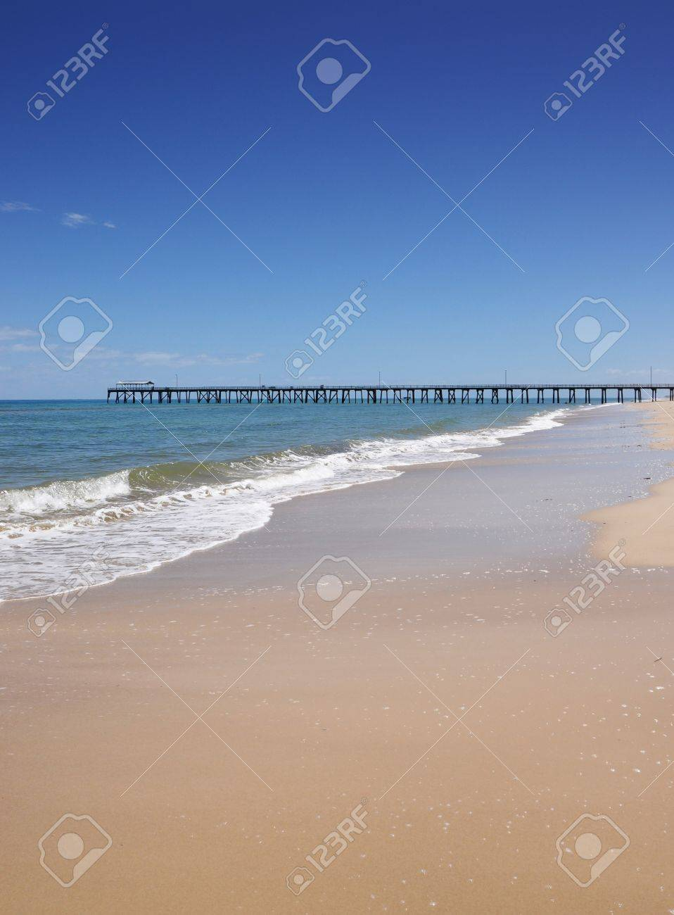 Background image location - Open Beach With Jetty In Background Location Henley Beach South Australia Looking Out To The