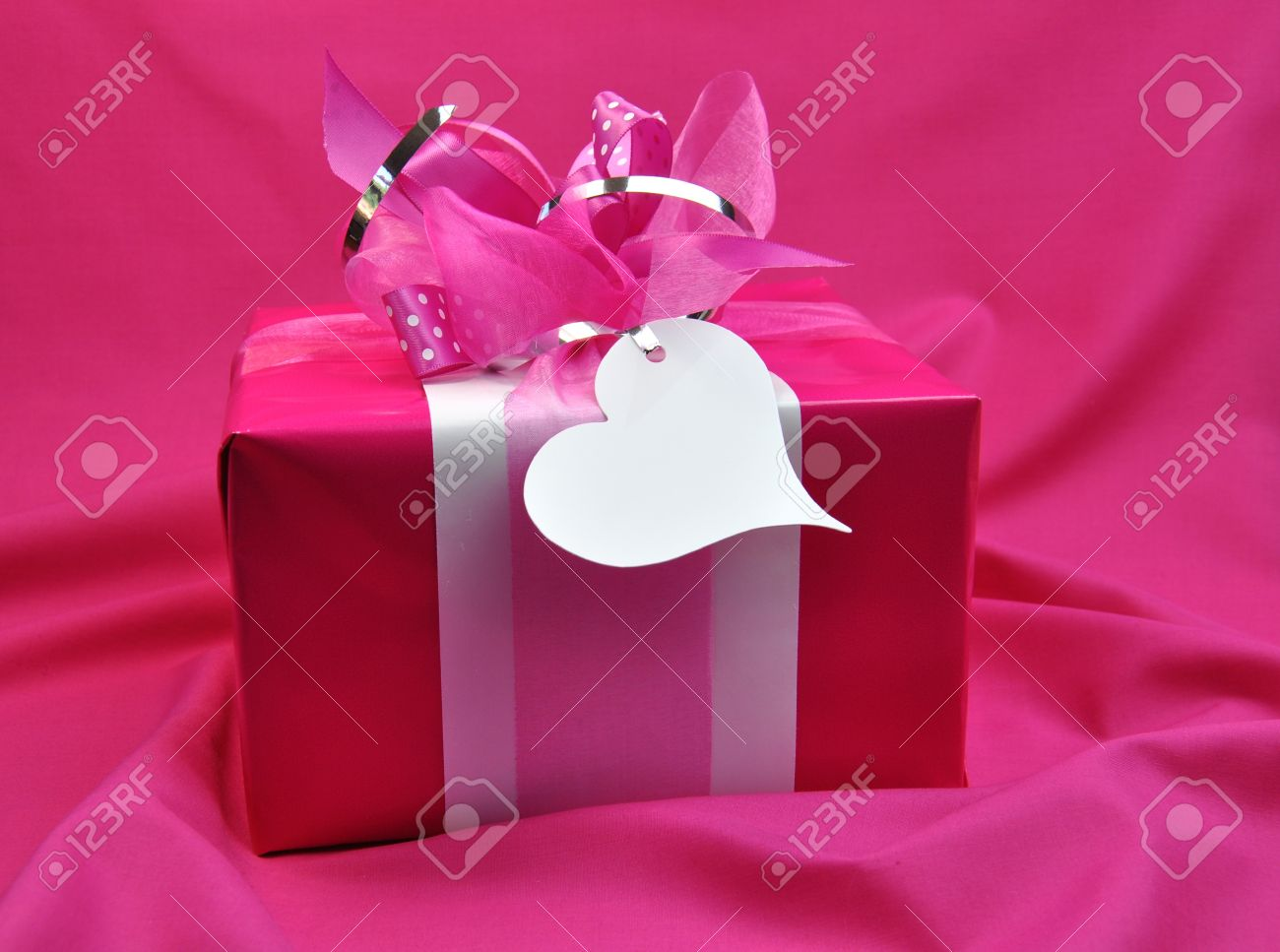 Hot Candy Pink Gift Wrapped Valentine, Christmas Or Birthday.. Stock ...