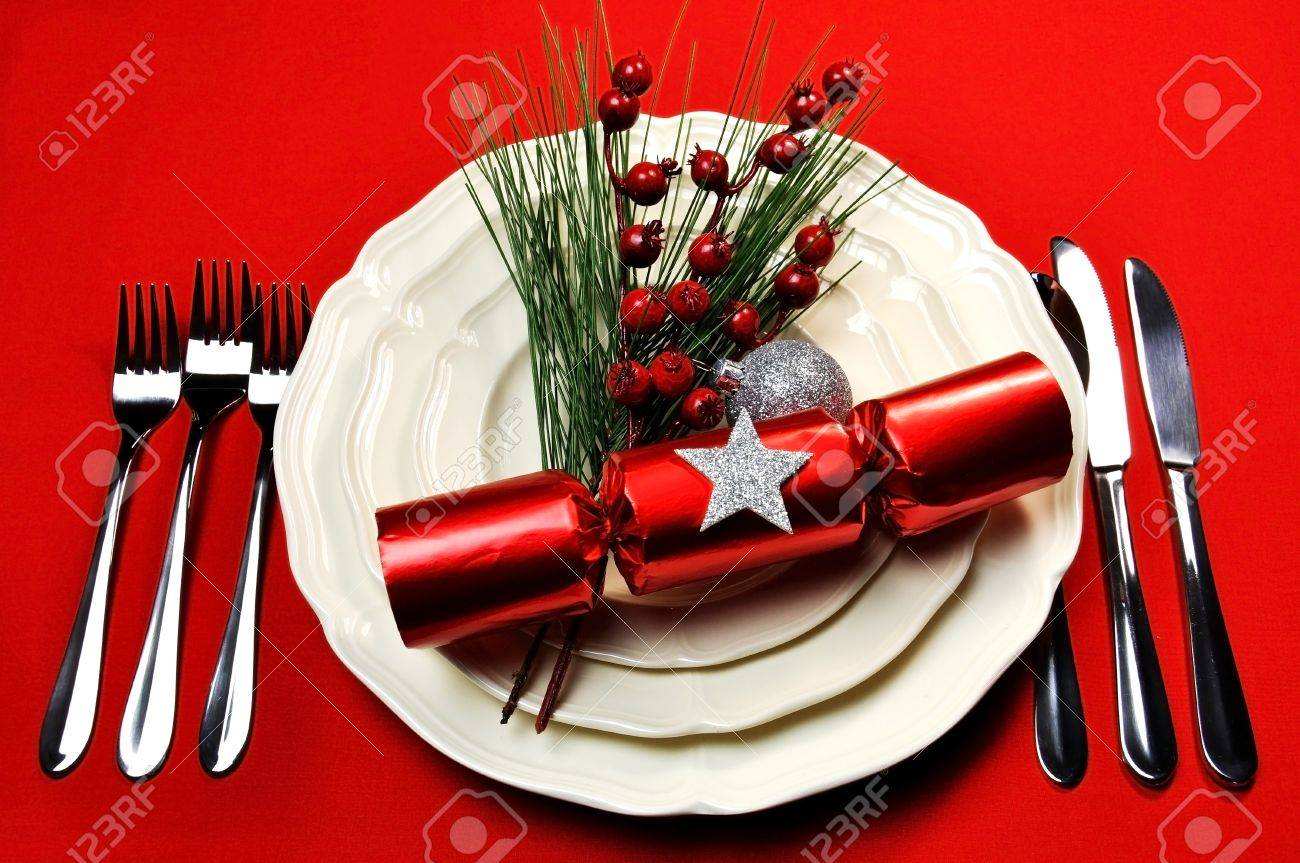 Christmas Table Setting Bright And Colorful Christmas Table Setting With Plates Forks