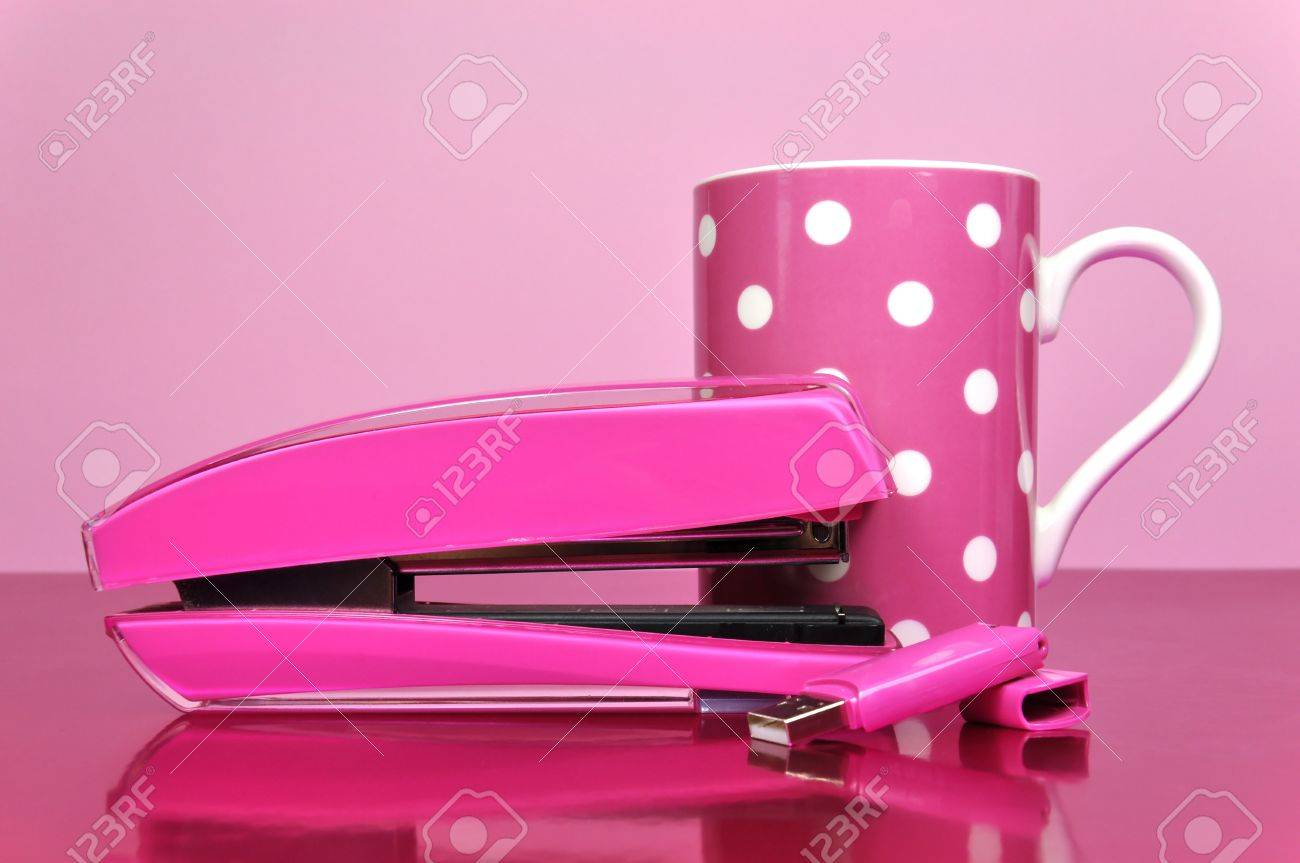 Pretty In Pink Office Accessories, Stapler, Pen Drive, And Polka Dot Mug,