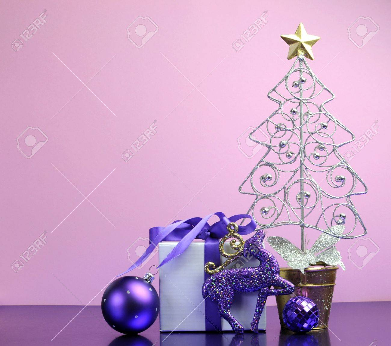 Purple Theme Christmas Tree Gift And Bauble Decorations Festive Stock Photo Picture And Royalty Free Image Image 17759089