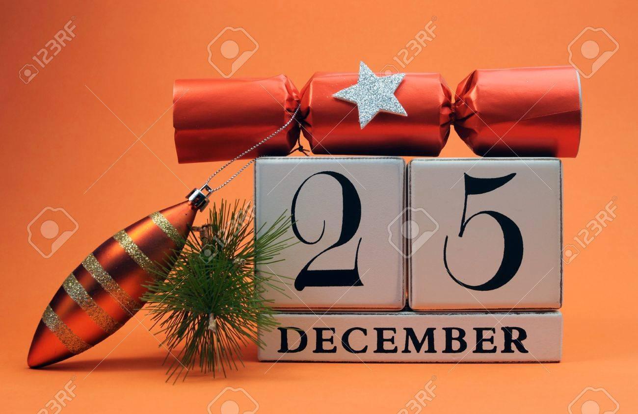 Christmas Date.Orange Theme Save The Date White Block Calendar For Christmas