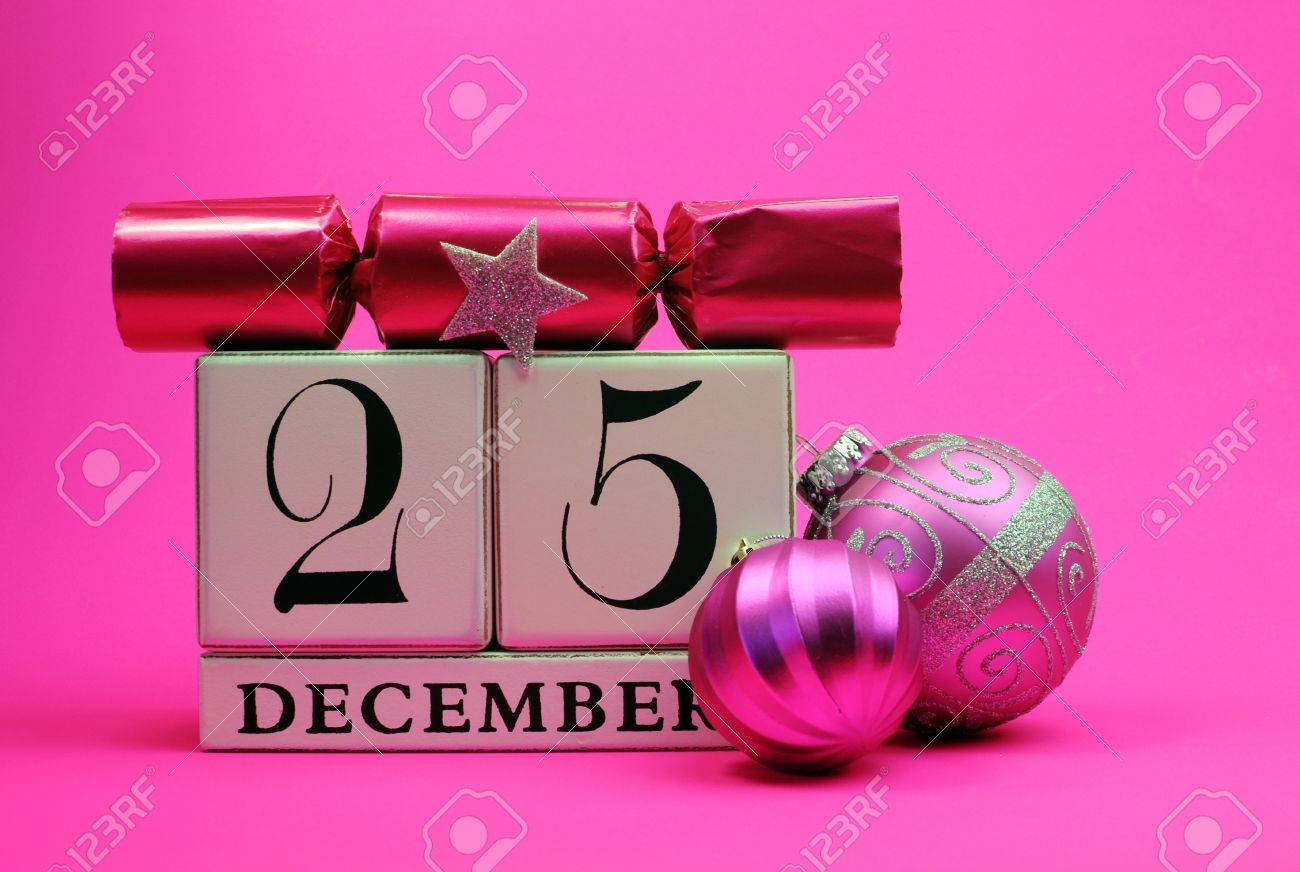 Pink Theme Save The Date White Block Calendar For Christmas Day ...
