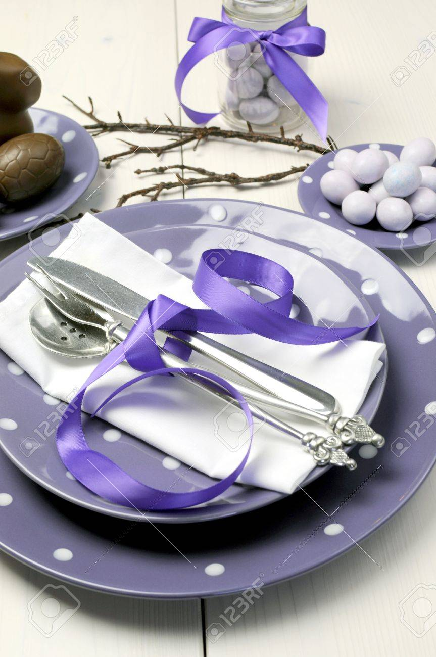 Table Setting For Breakfast Purple Theme Easter Dinner Breakfast Or Brunch Table Setting