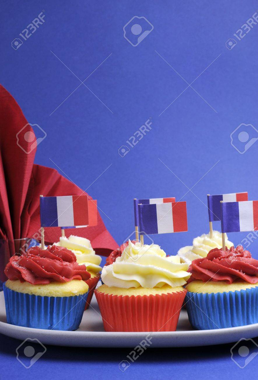 French Theme Red White And Blue Mini Cupcake Cakes With Flags