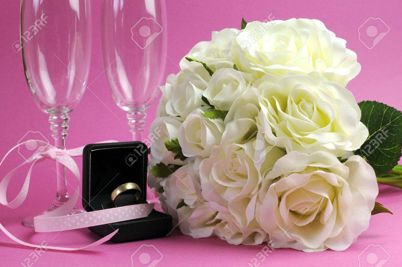 Wedding Bridal Bouquet Of White Roses On Pink Background With ...