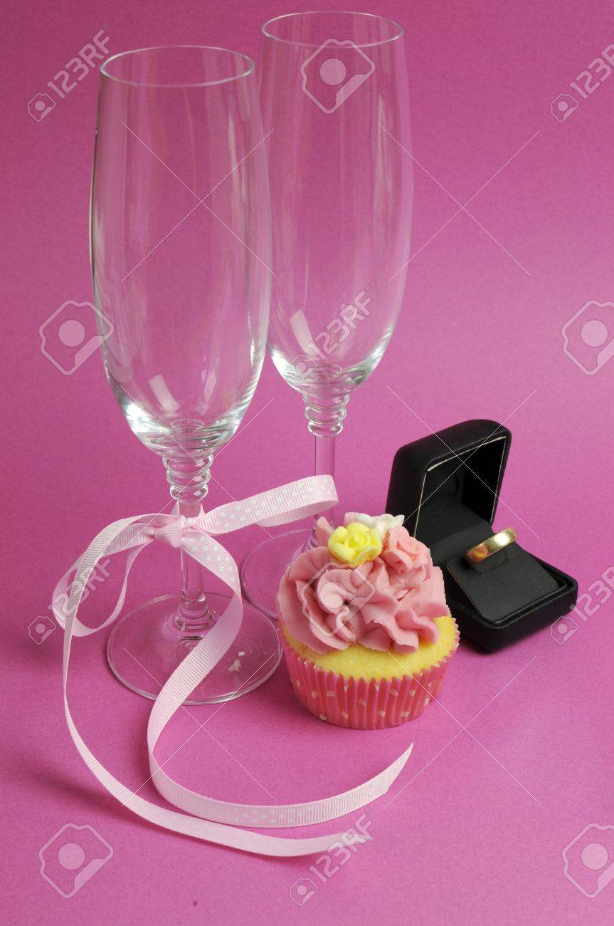 Wedding Theme Bridal Pair Of Champagne Flute Glasses With Pink ...