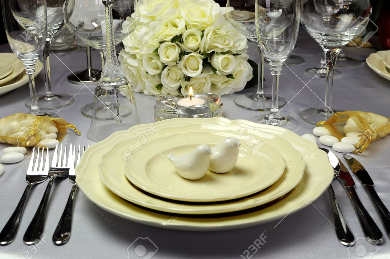 Table Setting For Breakfast Close Up Of Detail On Wedding Breakfast Dining Table Setting