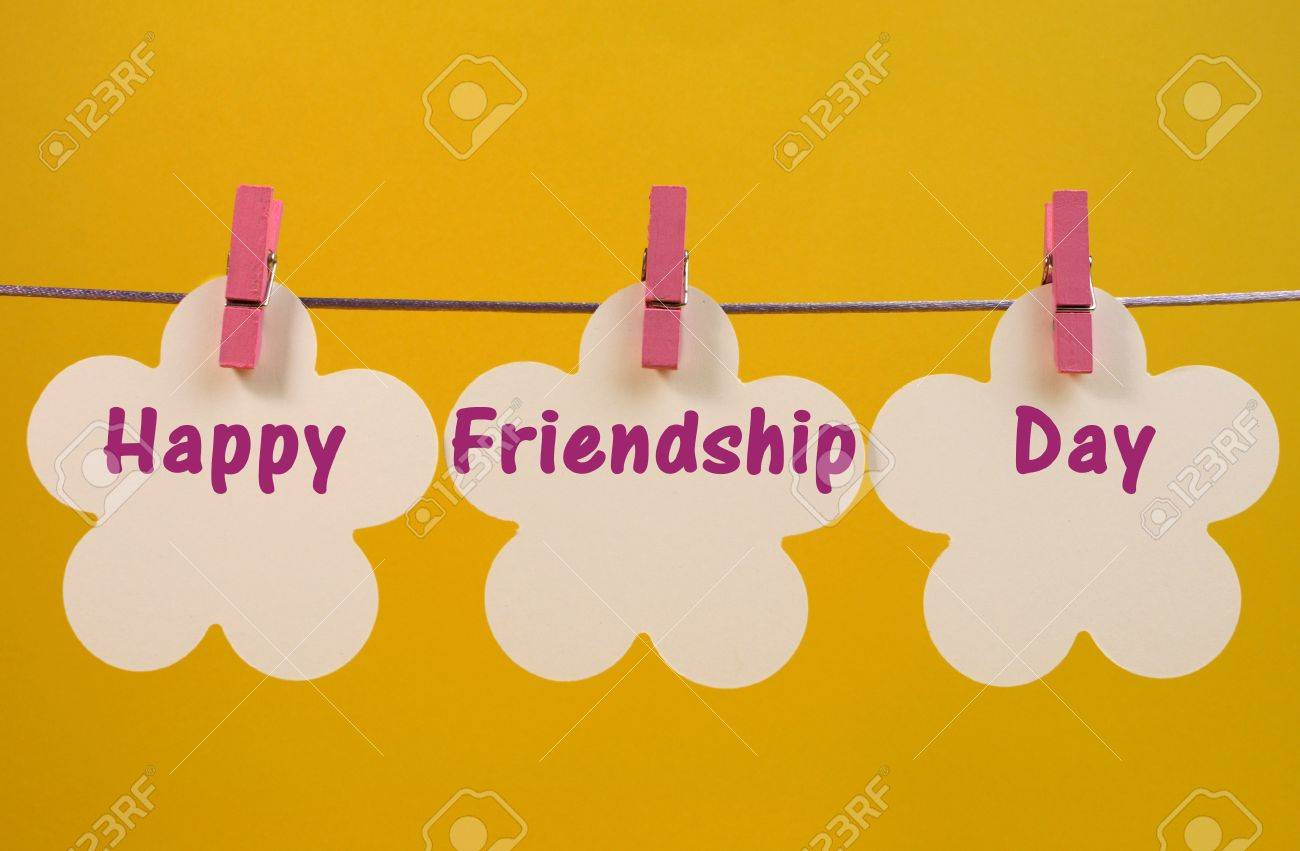 Happy friendship day message greeting across white flower tags happy friendship day message greeting across white flower tags hanging from pegs on a line against kristyandbryce Images