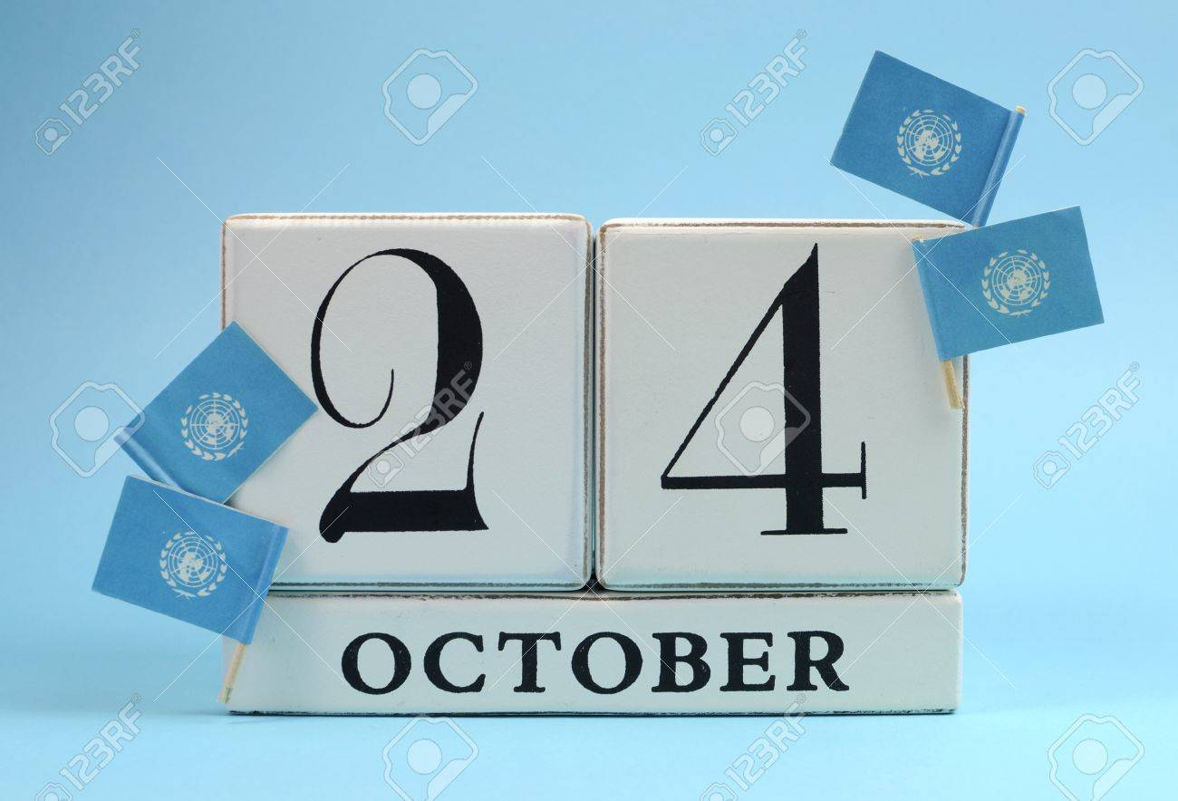 Save The Date White Block Calendar For October 24 United Nations