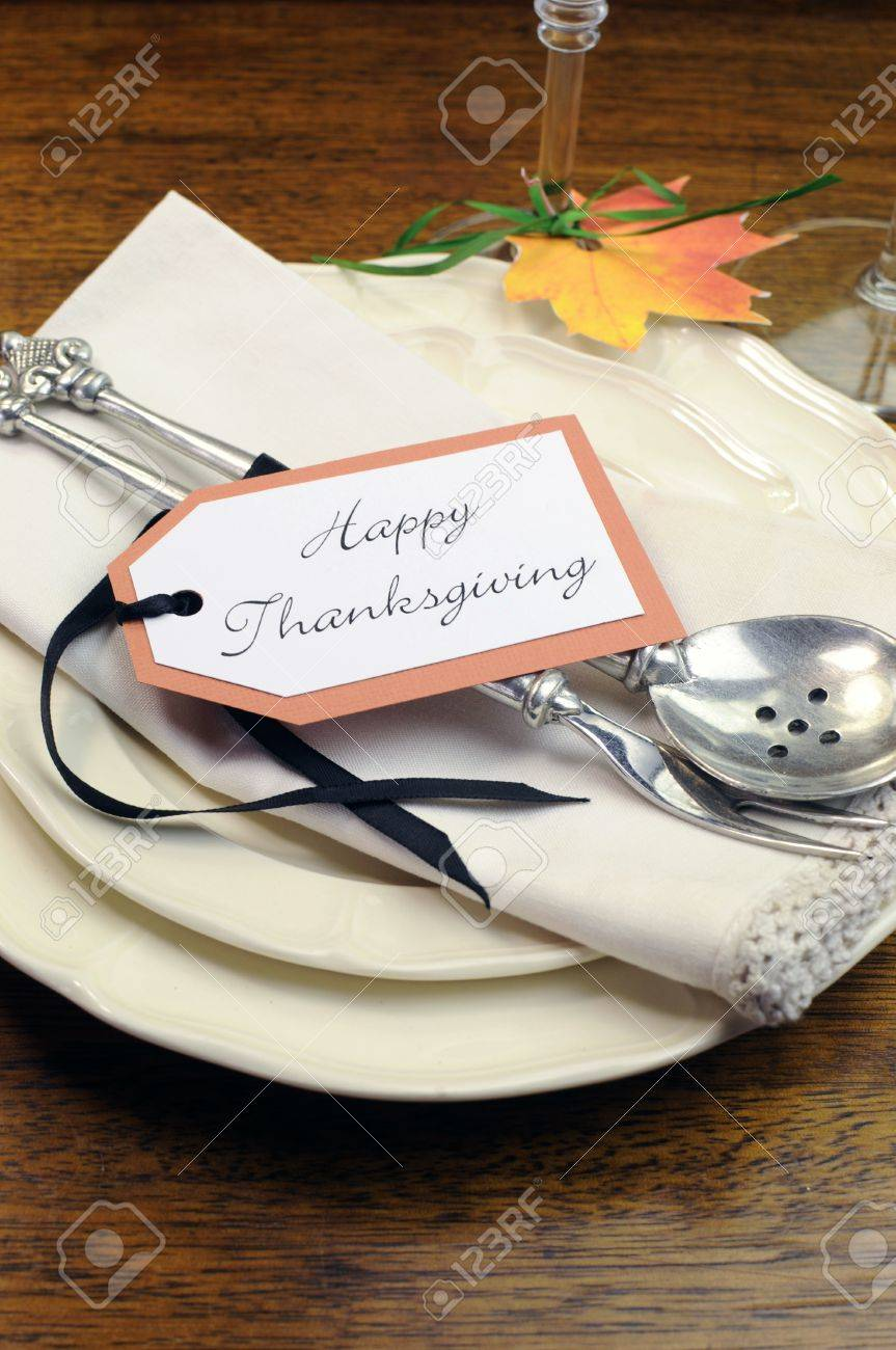 Happy Thanksgiving inidual dinner table place setting with best dinnerware and silverware and greeting tag Vertical & Happy Thanksgiving Inidual Dinner Table Place Setting With ...