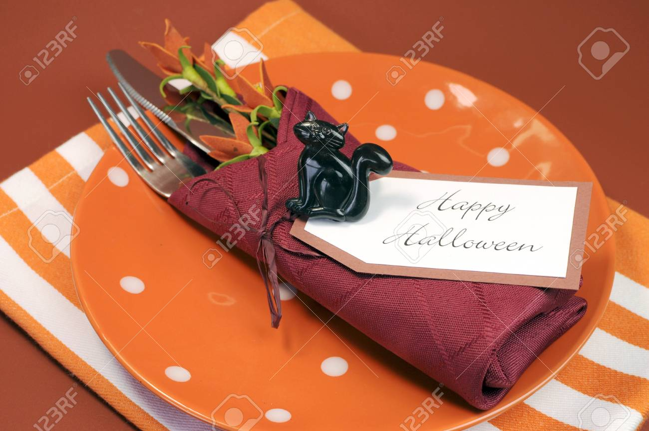 Happy Halloween Table Place Setting With Orange Polka Dot And Stock Photo Picture And Royalty Free Image Image 21724005