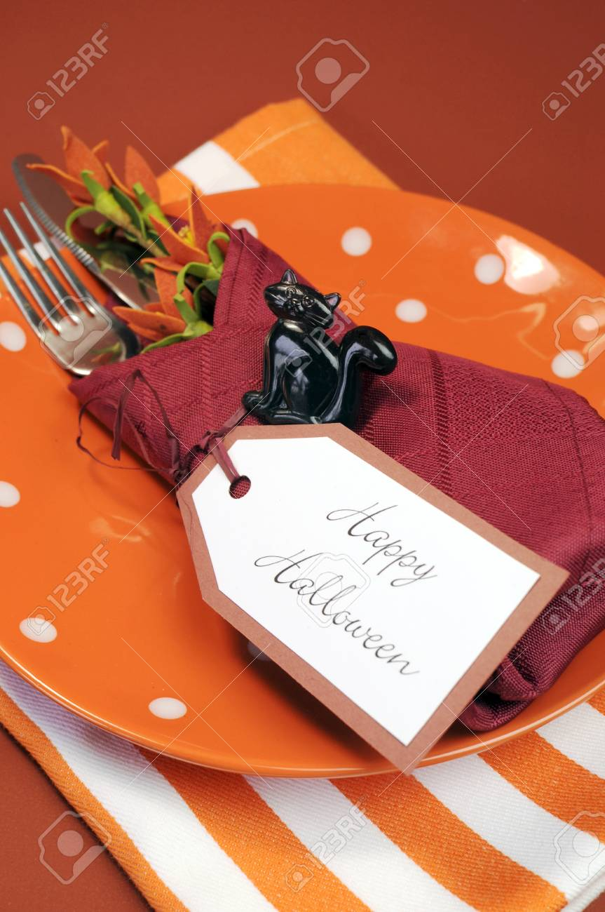 Happy Halloween Table Place Setting With Orange Polka Dot And Stock Photo Picture And Royalty Free Image Image 21724011