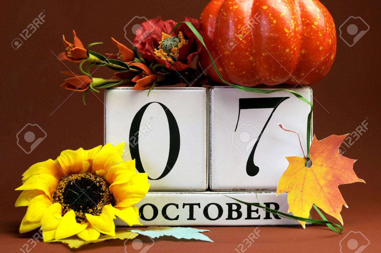 save the date white block calendar for october 7 with autumn