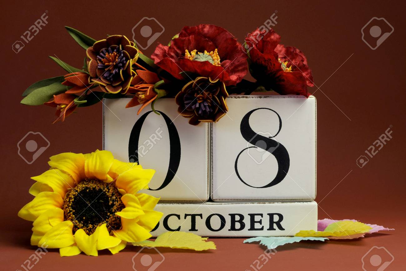 Save The Date White Block Calendar For October 8 With Autumn Stock
