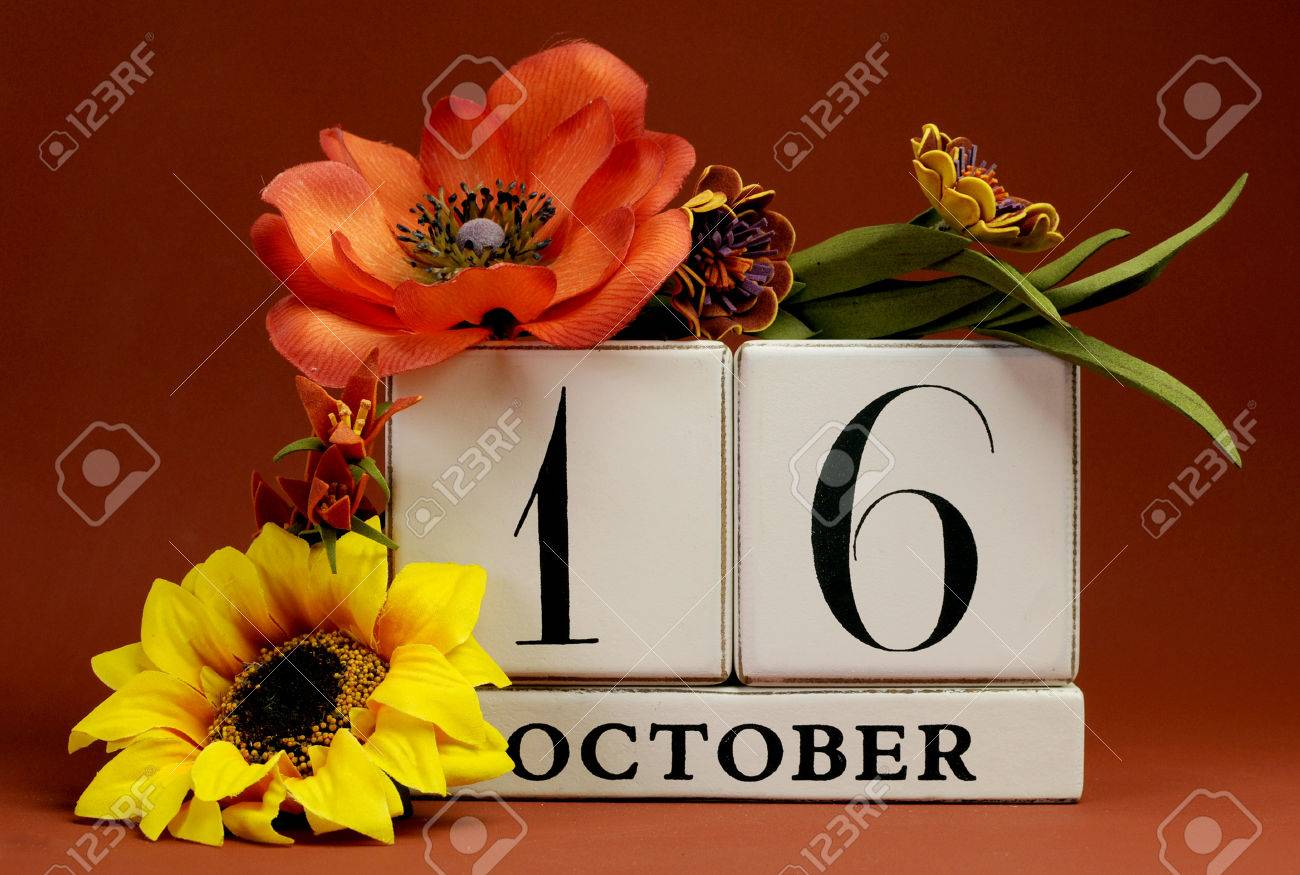 Save The Date White Block Calendar For October 16 With Autumn
