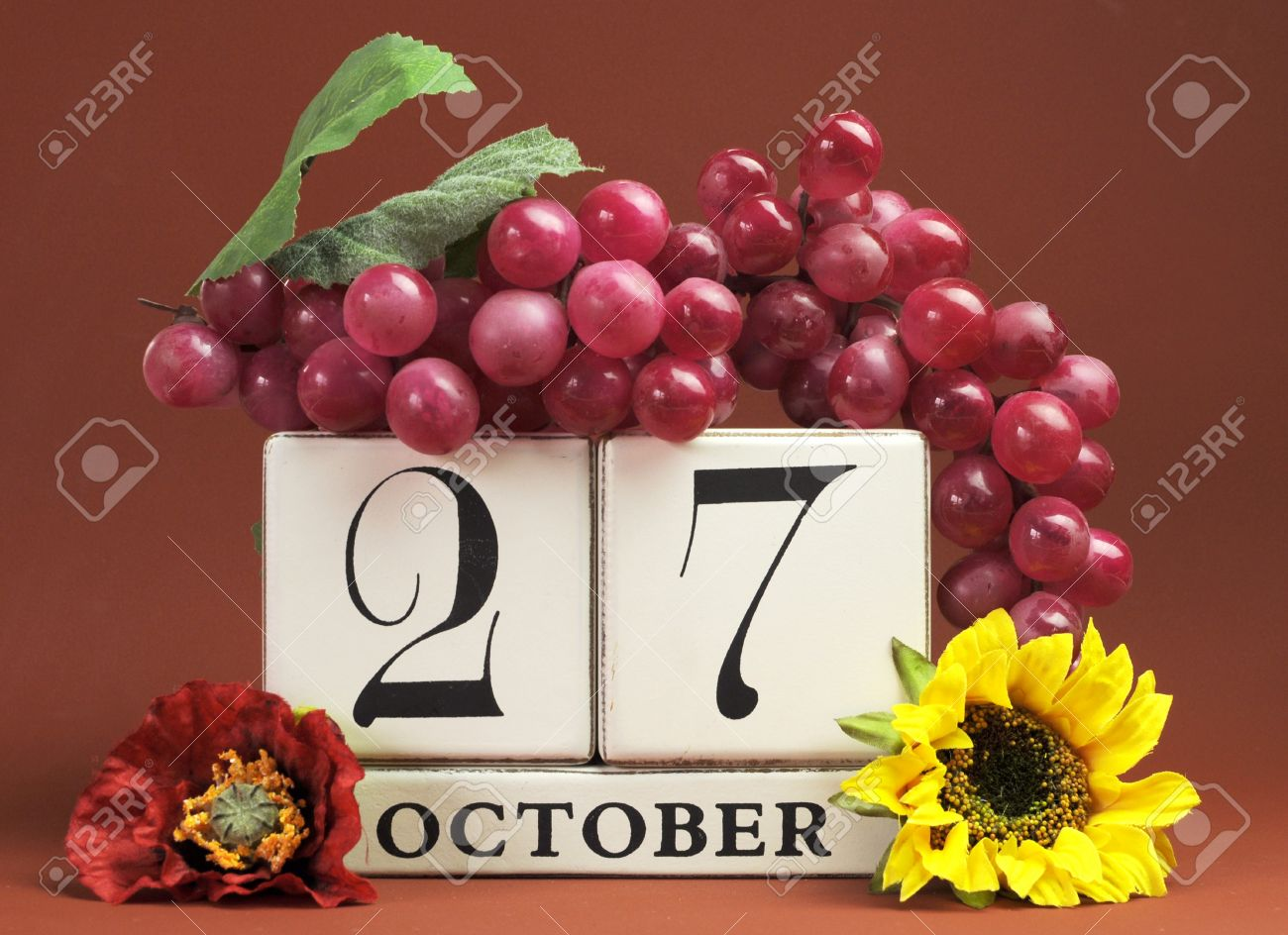 Save The Date White Block Calendar For October 27 With Autumn