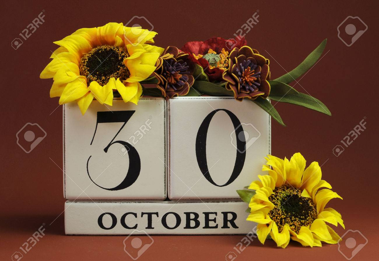 Save The Date White Block Calendar For October 30 With Autumn