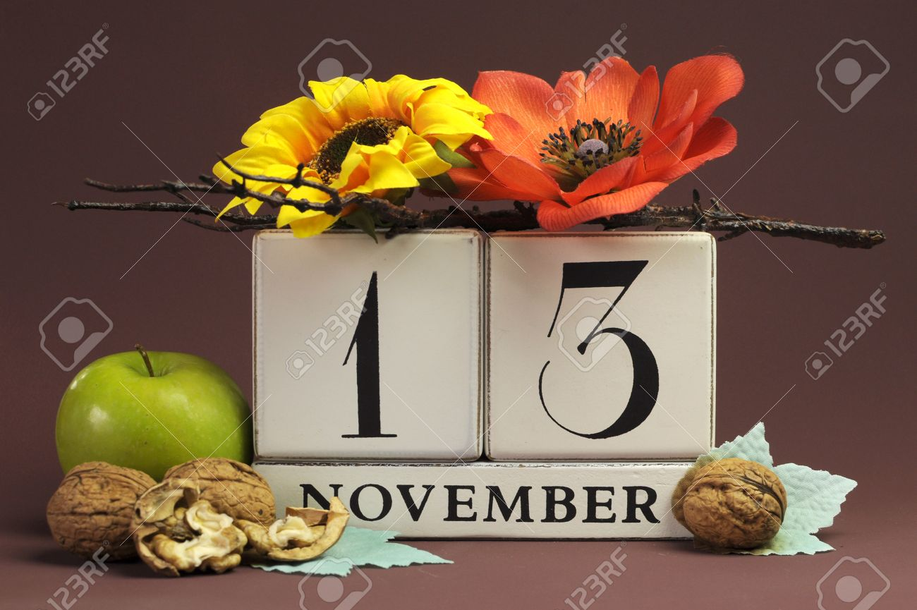Save The Date Seasonal Individual Calendar For November 13 With