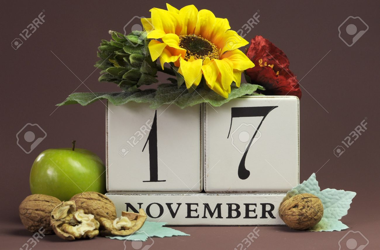 Save The Date Seasonal Individual Calendar For November 17 With