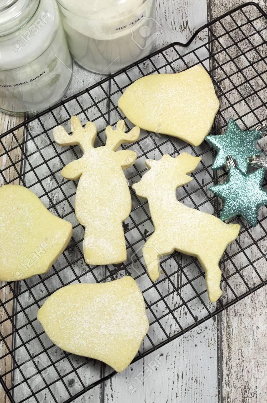Weihnachtsplätzchen Spritzgebäck.Stock Photo