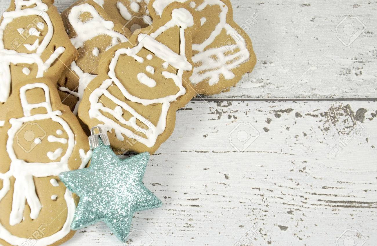 Merry Christmas Gingerbread Santa And Snowman Cookies With White ...