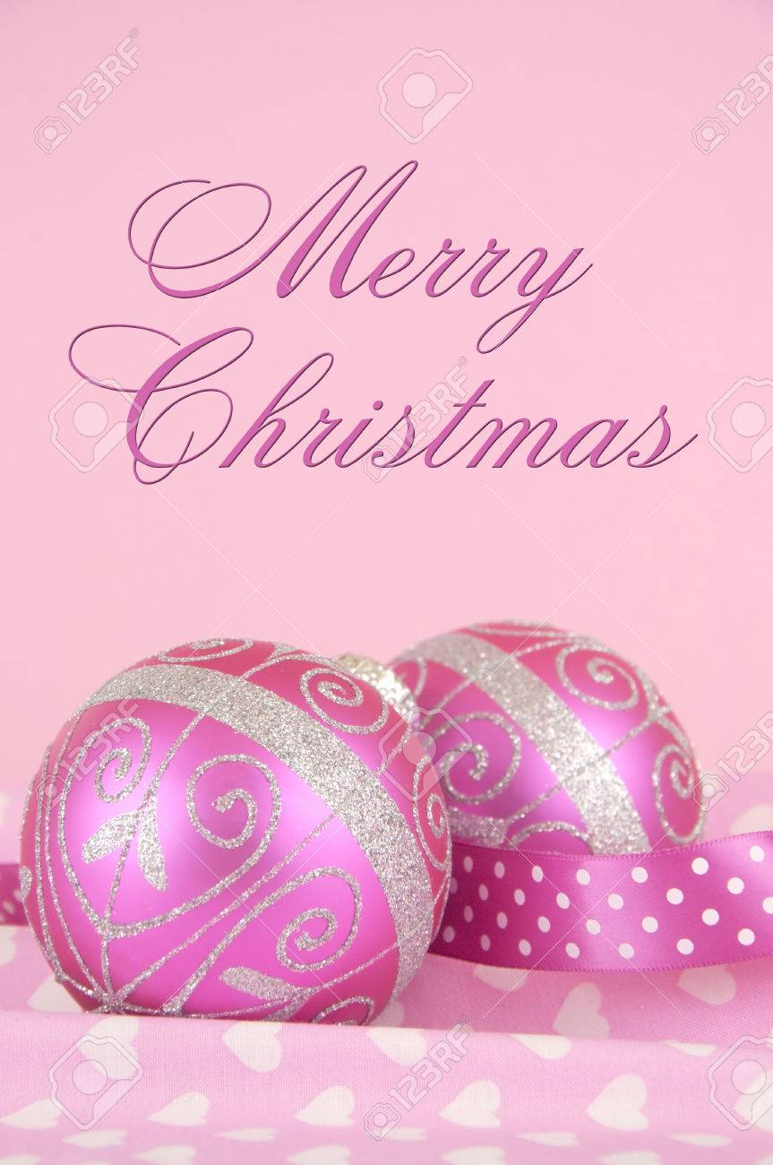 Beautiful Pink Merry Christmas Bauble Decoration Ornaments Close ...