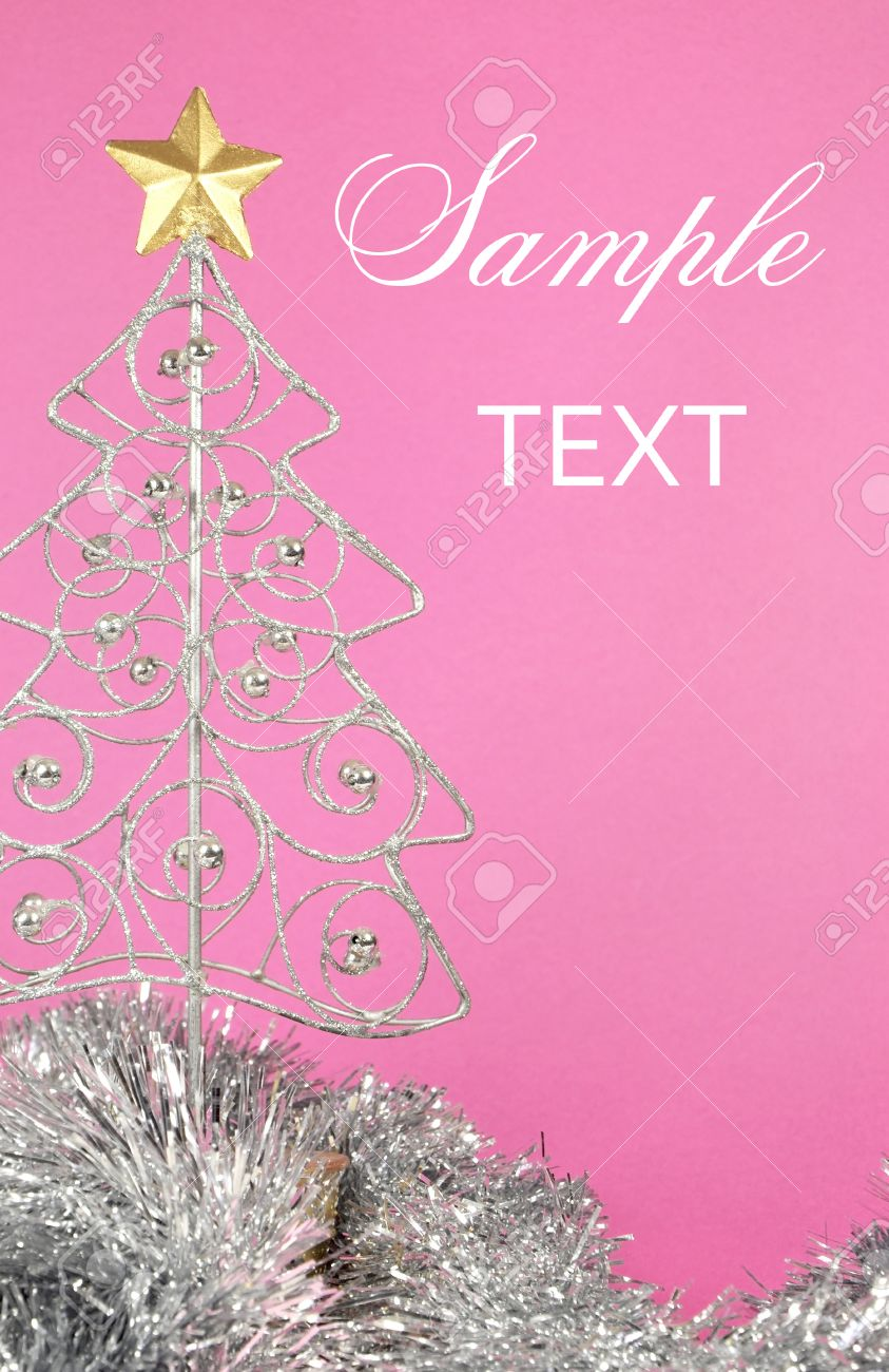 Beautiful Pink Merry Christmas Silver And Gold Ornament Tree.. Stock ...